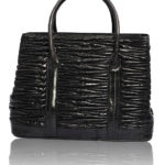 DIVA LUXURY BLACK EELSKIN LEATHER BAG