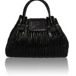 DIVA LUXURY BLACK LEATHER EELSKIN BAG FLP